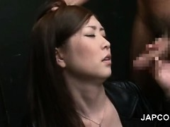 Stunning japanese beauty orally pleasing two horny cocks