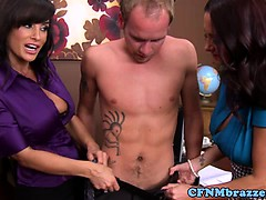 busty-cfnm-babes-strip-dude-naked
