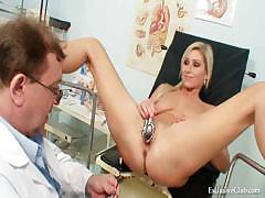 Foxy blond girl vagina gyn checkup