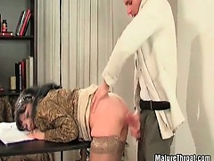 She loves to have break on her work with big cock inside her