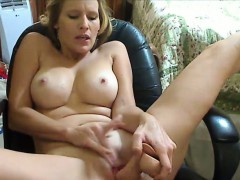 Busty Milf Masturbates With Dildo