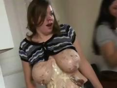 Wet and Messey Big Titted Wrestling 