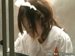 Asian waitress fingered while serving