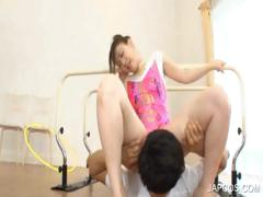 Sexy asian gymnast gets oral sex