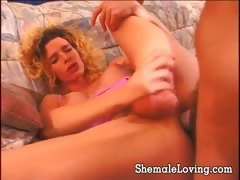 Horny Shemale Loves Playing With A Cock