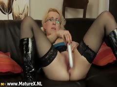 Horny Blond Housewife With Glasses Part1