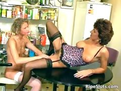 Horny Mature Brunette And Young Slutty Part2