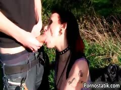 Horny emo slut Gina gets her face part2
