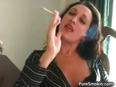 Sexy brunette Michelle smokes cigarette part5