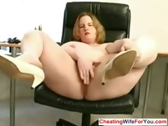 Fat slut likes to play with toys