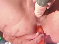 big dildo in big mature cunt outdoors